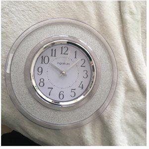 Westclox Ingraham 12-Inch Round Glitter Wall Clock in SILVER clear nwt